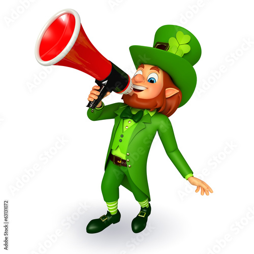 Leprechaun for patrick's day with loudspeaker