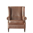 Brown elegant leather armchair isolated on white