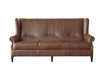 Brown elegant leather sofa isolated on white