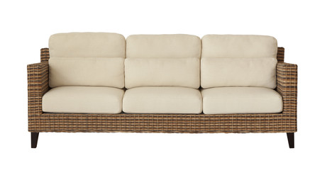 Rattan furniture sofa (couch) isolated on white