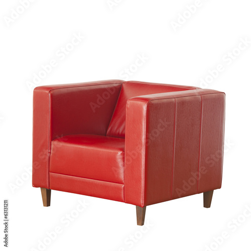 Red leather chair isolated on white