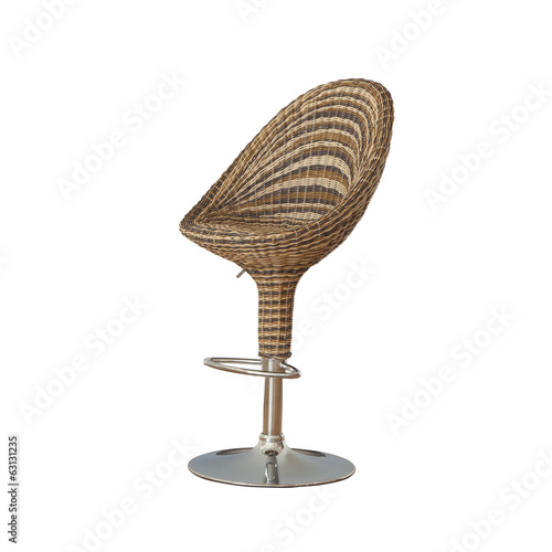 Rattan furniture chair isolated on white
