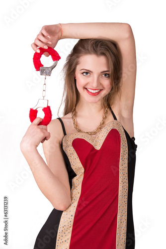 girl in red dress with handcuffs