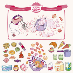 Set of kitchen-ware and confectionery for artwork - illustration