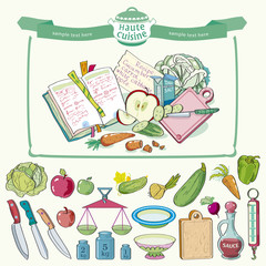 Set of kitchen-ware and vegetables for artwork - illustration