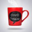 Red ceramic cup with good morning sign or title made with chalk.
