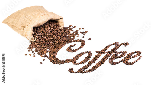 Coffee title made from roasted coffee beans. Beans in bag
