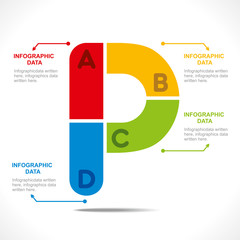 creative alphabet 'P' info-graphics design vector