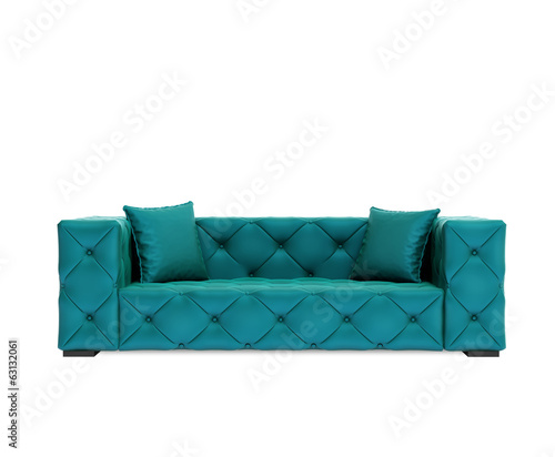 Isolated contemporary green buttoned sofa