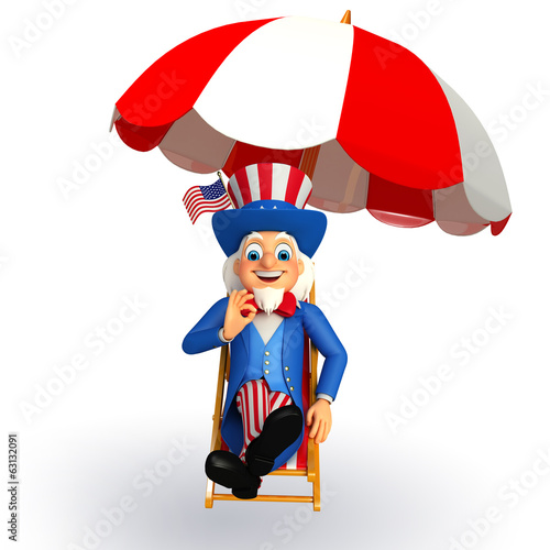 Illustration of Uncle Sam with beach chair