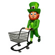 leprechaun for patrick's day with trolley