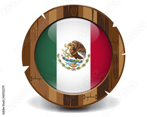 Mexico wood button