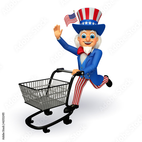 Illustration of Uncle Sam with trolley