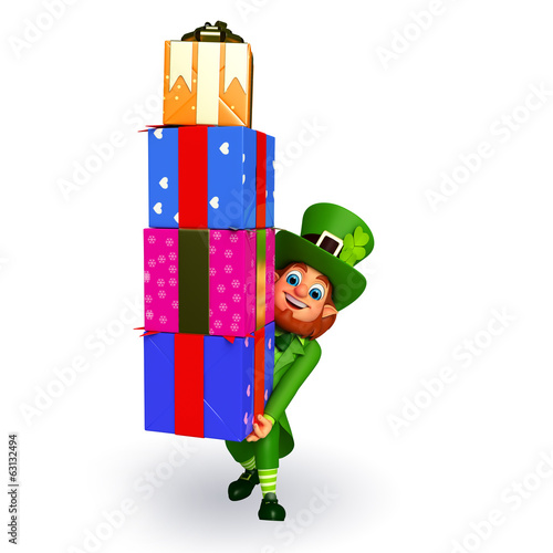leprechaun for patrick's day with gifts
