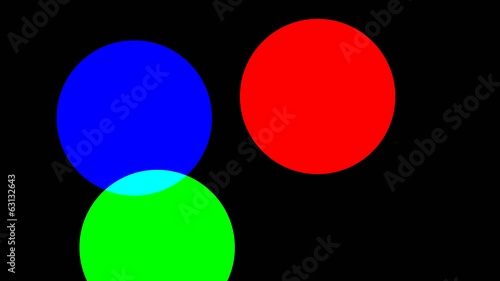 RGB circles move on screen and show how colors are made