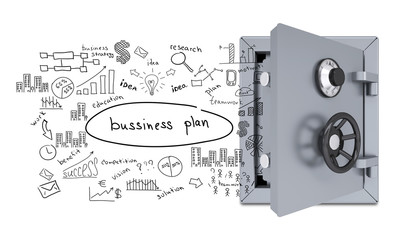 Business sketches from an open safe
