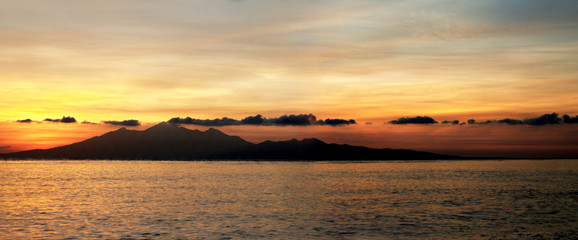 Sunrise over the Island of Lombok in Indonesia