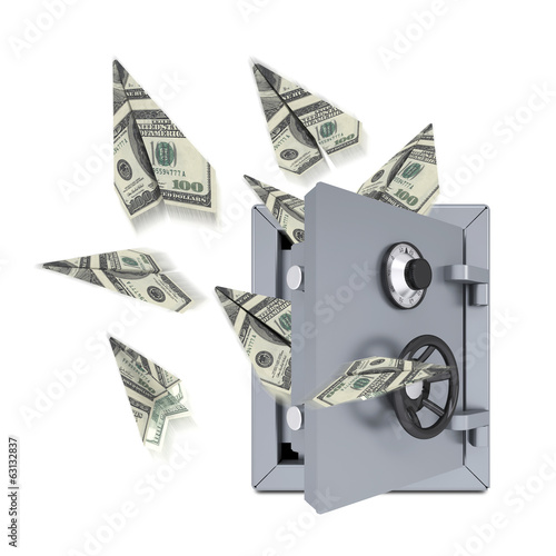 Paper airplanes of dollars from an open safe