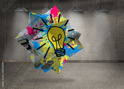 Composite image of light bulb on abstract screen
