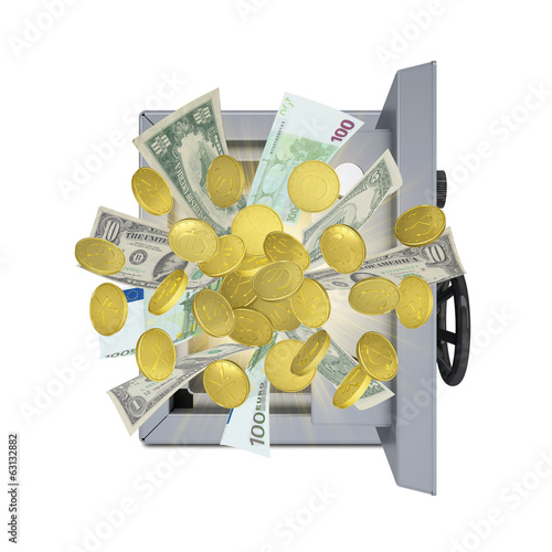 Banknotes and coins are emitted from an open safe