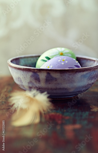 Still Life with Easter Eggs in a Ceramic Bowl