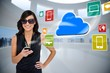 Glamorous brunette using smartphone with cloud and icons