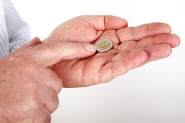 Hands with money coins