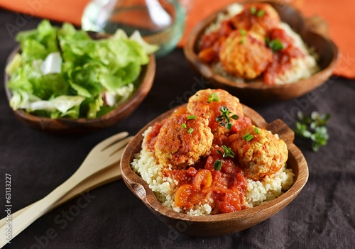Meatballs with tomato sauce and couscous