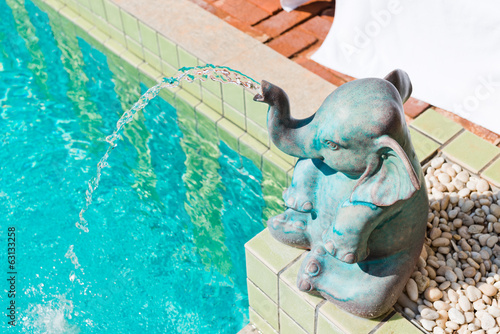 elephant statue at pool