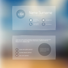 Modern transparent business card template