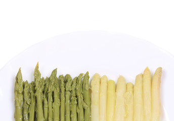Ends of white and green asparagus.
