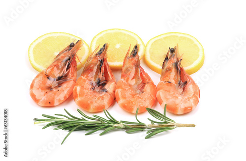 Shrimp with lemon and rosemary.