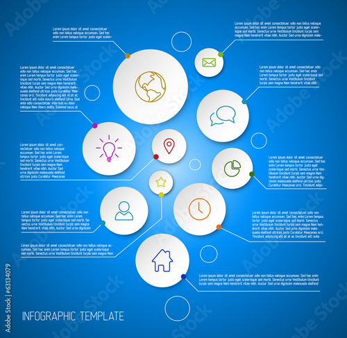 Infographic blue report poster with circles