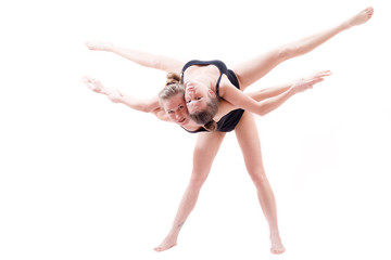 Two young dancers showing support
