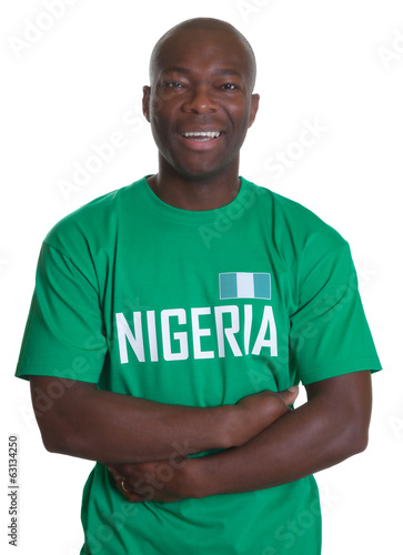 Soccer Fan from Nigeria with crossed arms