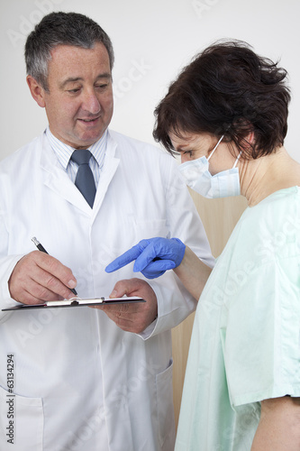 Doctor and doctor talk about medical record