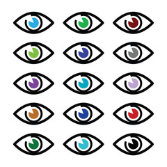 Eye colors sight icons set - vector icons set