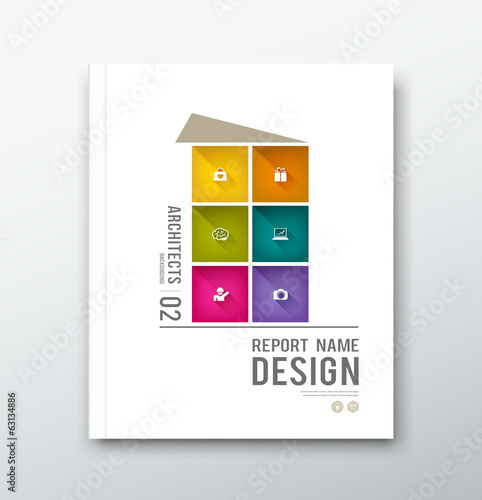Cover annual report colorful building graphic design