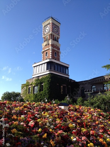 The clock tower in the garden