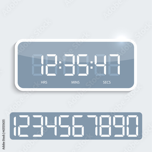 Digital clock with shiny plastic panel.