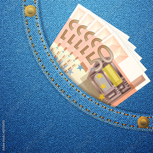 denim pocket and 50 euro banknotes