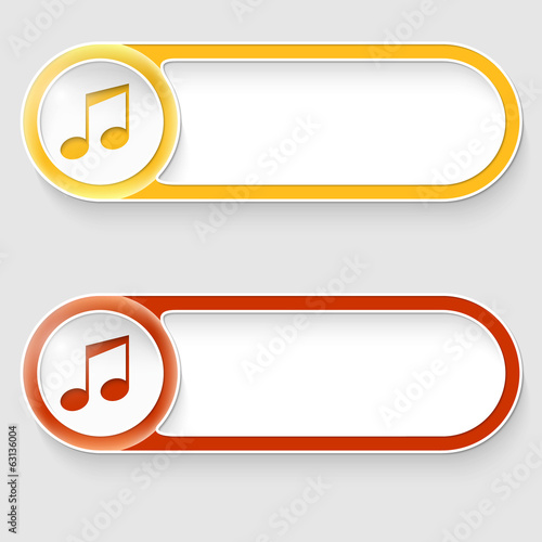 two vector abstract buttons with music icon