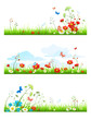 Summer grass and flowers set
