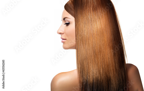 girl with shining laminated hair