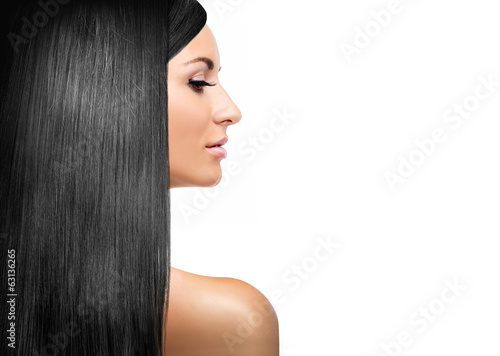 girl with black shining laminated hair