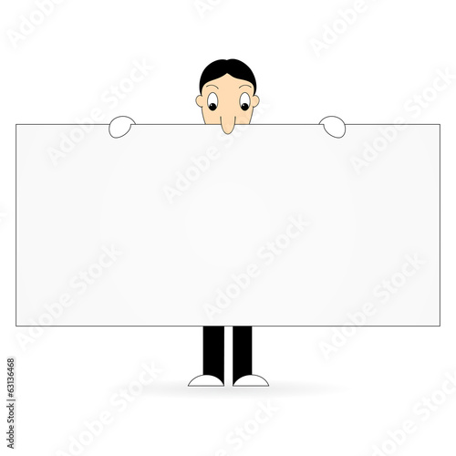Cartoon character holding banner