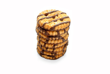 A Stack of Shortbread Cookies with Cocolate