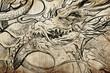 Tattoo japanese dragon sketch, handmade design over vintage pape