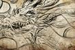 dragon Tattoo sketch, handmade design over vintage paper