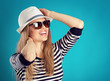 Summer travel woman in hat and sunglasses ready for feast trip